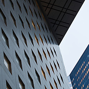 Upshot of the sky in the business complex La Defense, Paris, France.