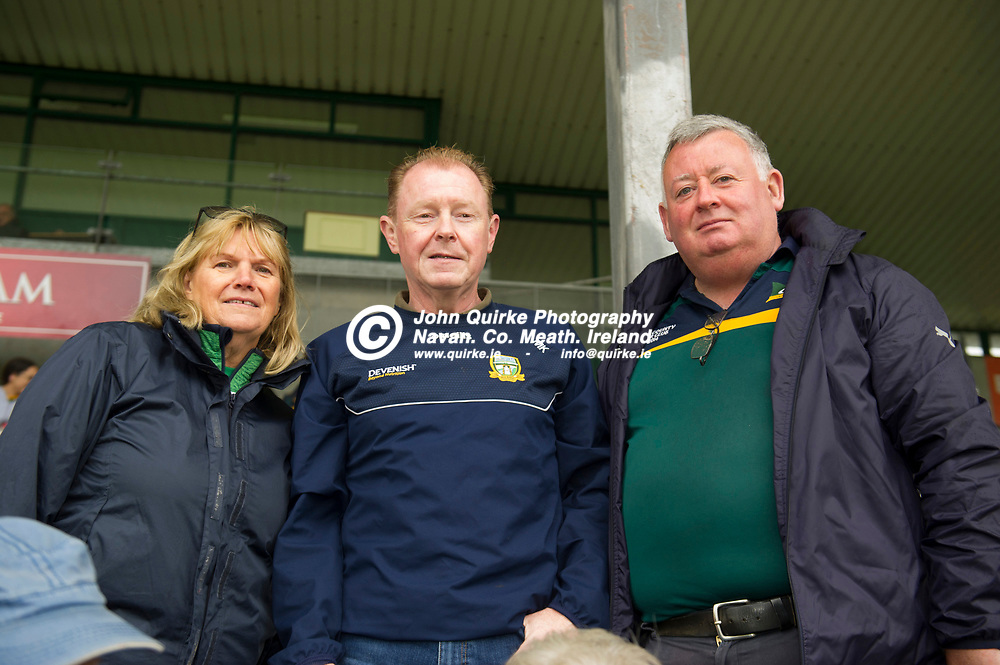 02-08-21. Meath v Dublin - Leinster MFC Final at O'Connor Park, Tullamore.<br /> L to R: Ethna Tormey, Michael King and Gerry Giblin all from Donaghmore/Ashbourne supporting the Meath Minor Footballers in O'Moore Park, Tullamore.<br /> Photo: John Quirke / www.quirke.ie<br /> ©John Quirke Photography, 16 Proudstown Road, Navan. Co. Meath. (info@quirke.ie / 046-9028461 / 087-2579454).