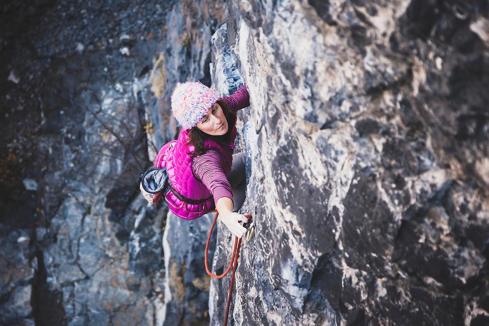 Jacki Arevalo climbs Remote Control, 5.11a, American Fork Canyon.