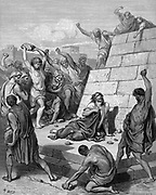 St Stephen, the first Christian martyr, found guilty of blasphemy by the Sanhedrin, supreme council of the Jews and stoned to death. Acts 7.57. Illustration by Gustave Dore (1832-1883) French artist and illustrator for 'The Bible' (London 1866). Wood engraving.