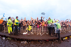 Fans of Swedish House Mafia at the Radio 1/NME stage on Sunday at T in the Park 2012, held at Balado, in Fife, Scotland.