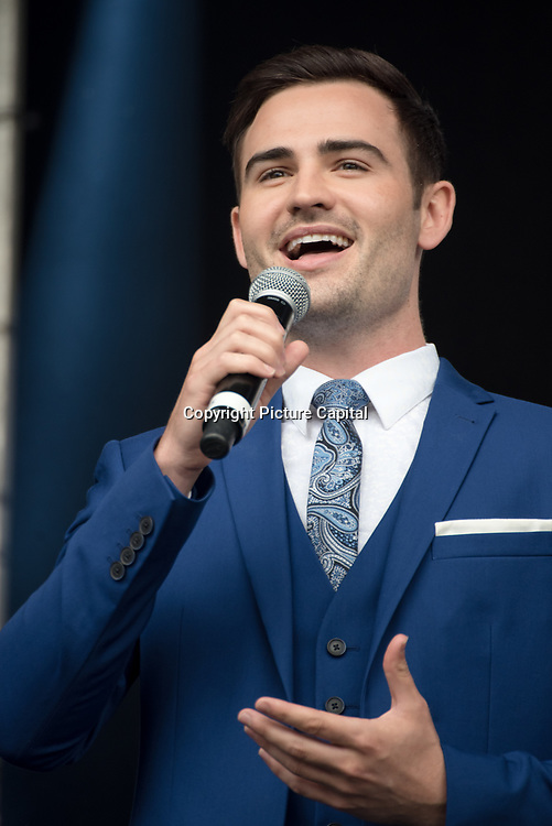 Collabro on stage at West End Live on June 16 2018  in Trafalgar Square, London.