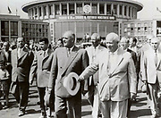 Romanian communist leader Gheorghe Gheorghiu-Dej (front row, left) seeing off Soviet leader Nikita Khrushchev (front row, right) upon the close of the Romanian Communist Party's 7th Congress 1959 at Bucharest's Baneasa Airport. The image also shows Gheorghiu-Dej's successor, Nicolae Ceausescu (second row, to Gheorghiu-Dej's left).