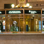 Clerk in the information booth of the Grand Central Terminal in Manhattan