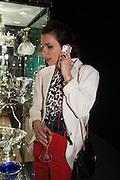 Lara Bohinc on the phone at the Opening of The LAPADA  Art and Antiques Fair. Berkeley Sq. London. 24 September 2013.