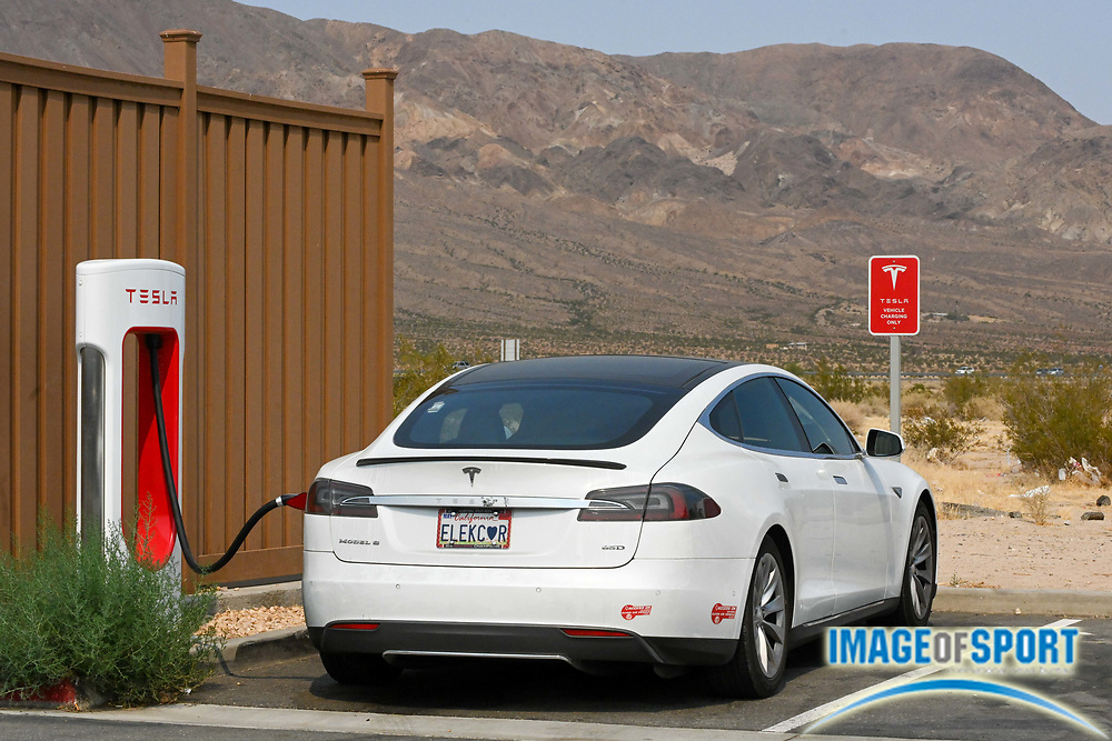 A Tesla Model S is seen charging at a Super Charger at EddieWorld, Monday, Sept. 14, 2020, in Yermo, Calif. (Dylan Stewart/Image of Sport)