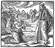 Mary Magdalene seeing the apparition of the risen Jesus Christ; in left background angels are shown in the sepulchre. Woodcut c1500. 'Bible' Luke 24