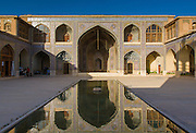Courtyard at Nasir al-Mulk Mosque, (aka the Pink Mosque) Shiraz, Iran. Built 1876 -1888. Architects: Muhammad Hasan-e-Memar and Muhammad Reza Kashi Paz-e-Shirazi.