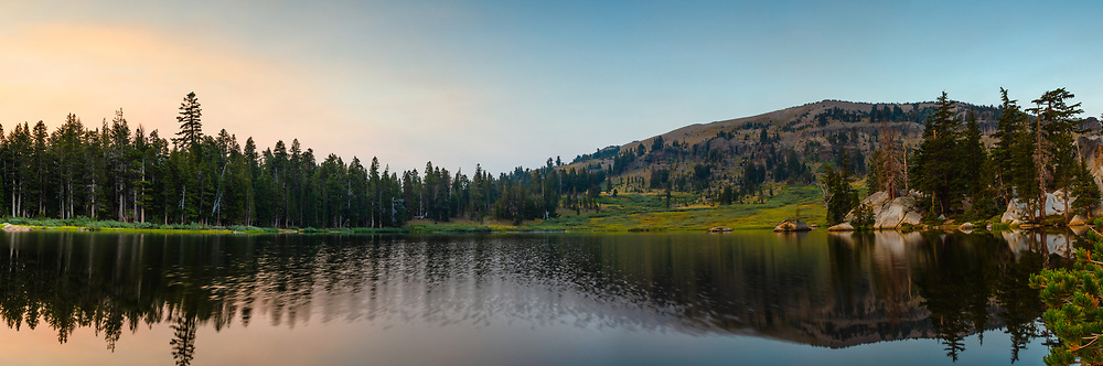 """""""Showers Lake Sunrise 1"""" - Stitched Panoramic photograph shot at sunrise of Showers Lake along the Tahoe Rim Trail and the Pacific Crest Trail, south of South Lake Tahoe a bit."""
