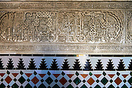 Arabesque Mudjar plaster work and Zillige tiles inside the Vestibule of Don Pedro's Palace, completed in 1366. Alcazar of Seville, Seville, Spain . The Royal Alcázars of Seville (al-Qasr al-Muriq ) or Alcázar of Seville, is a royal palace in Seville, Spain. It was built by Castilian Christians on the site of an Abbadid Muslim alcazar, or residential fortress.The fortress was destroyed after the Christian conquest of Seville The palace is a preeminent example of Mudéjar architecture in the Iberian Peninsula but features Gothic, Renaissance and Romanesque design elements from previous stages of construction. The upper storeys of the Alcázar are still occupied by the royal family when they are in Seville. <br /> <br /> Visit our SPAIN HISTORIC PLACES PHOTO COLLECTIONS for more photos to download or buy as wall art prints https://funkystock.photoshelter.com/gallery-collection/Pictures-Images-of-Spain-Spanish-Historical-Archaeology-Sites-Museum-Antiquities/C0000EUVhLC3Nbgw <br /> .<br /> Visit our MEDIEVAL PHOTO COLLECTIONS for more   photos  to download or buy as prints https://funkystock.photoshelter.com/gallery-collection/Medieval-Middle-Ages-Historic-Places-Arcaeological-Sites-Pictures-Images-of/C0000B5ZA54_WD0s