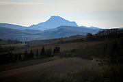 Pic de Bugarach with electricity wind turbines France Corbieres