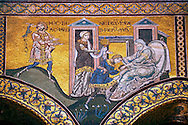 Byzantine mosaics in the Cathedral of Monreale- Jacob steals the blessing of his father intended for Esau- Palermo - Sicily Pictures, photos, images & fotos photography .<br /> <br /> If you prefer you can also buy from our ALAMY PHOTO LIBRARY  Collection visit : https://www.alamy.com/portfolio/paul-williams-funkystock/monrealeduomomosaics.html. Refine search by adding subject etc  into the LOWER SEARCH WITHIN GALLERY box. <br /> <br /> Visit our BYZANTINE MOSAIC PHOTO COLLECTION for more   photos  to download or buy as prints https://funkystock.photoshelter.com/gallery-collection/Roman-Byzantine-Art-Artefacts-Antiquities-Historic-Sites-Pictures-Images-of/C0000lW_87AclrOk