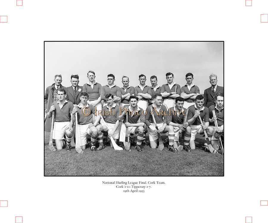 179/2528-2533.Senior Hurling Cork Team.National Hurling League Final.19 April 1953.Cork 2-10  Tipperary 2-7.