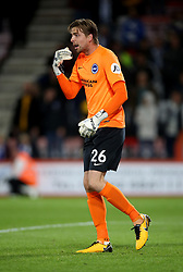 """Brighton and Hove Albion Tim Krul during the Carabao Cup, third round match at the Vitality Stadium, Bournemouth. PRESS ASSOCIATION Photo. Picture date: Tuesday September 19, 2017. See PA story SOCCER Bournemouth. Photo credit should read: Steven Paston/PA Wire. RESTRICTIONS: EDITORIAL USE ONLY No use with unauthorised audio, video, data, fixture lists, club/league logos or """"live"""" services. Online in-match use limited to 75 images, no video emulation. No use in betting, games or single club/league/player publications."""