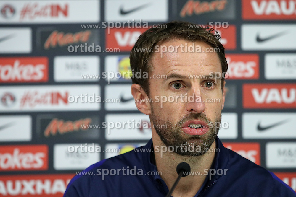 Gareth Southgate, head coach during press conference 1 day before football match between National teams of Slovenia and England in Round #3 of FIFA World Cup Russia 2018 qualifications in Group F, on October 10, 2016 in SRC Stozice, Ljubljana, Slovenia. Photo by Morgan Kristan / Sportida