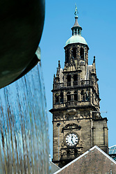 The 64 metre high clock-tower of Sheffield's old town hall  is surmounted by a statue of Vulcan <br />  05 June 2016<br />  Copyright Paul David Drabble<br />  www.pauldaviddrabble.photoshelter.com