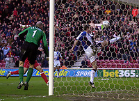 Photo. Glyn Thomas.<br /> Middlesbrough v Blackburn Rovers. Premiership. <br /> Riverside Stadium, Middlesbrough. 07/02/2004.<br /> Blackburn's Craig Short (R) clears off the line from a shot from Gareth Southgate to maintain his side's slender advantage.