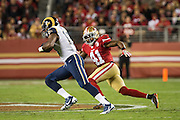 San Francisco 49ers strong safety Antoine Bethea (41) chases down Los Angeles Rams wide receiver Kenny Britt (18) at Levi's Stadium in Santa Clara, Calif., on September 12, 2016. (Stan Olszewski/Special to S.F. Examiner)