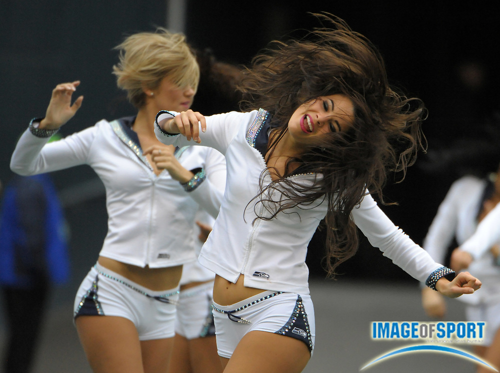 Oct 30, 2011; Seattle, WA, USA; Seattle Seahawks cheerleader performs during the game against the Cincinnati Bengals at CenturyLink Field.