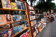 CUBA, HAVANA (HABANA VIEJA) Plaza de Armas; a used book stall in the heart of the old colonial city