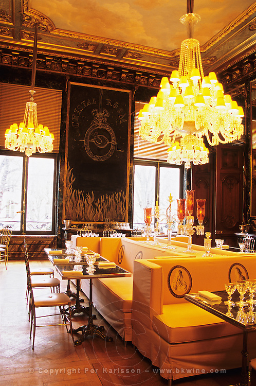 """The Baccarat Restaurant """"Le Cristal Room"""", in the old dining room. Crystal chandeliers and glasses. Designed by Philippe Starck. The Cristal Room restaurant"""