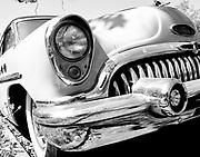 Antique Auto, 50s Buick, Black and White