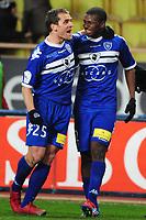 FOOTBALL - FRENCH CHAMPIONSHIP 2011/2012 - L2 - AS MONACO  v SC BASTIA - 13/02/2012 - PHOTO OLIVIER ANRIGO / DPPI - SADIO DIALLO (BAS) CELEBRATES HIS GOAL WITH JEROME ROTHEN