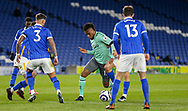 Everton midfielder Alex Iwobi (17) battles with Brighton and Hove Albion defender Ben White (3) and Brighton and Hove Albion midfielder Pascal Gross (13) during the Premier League match between Brighton and Hove Albion and Everton at the American Express Community Stadium, Brighton and Hove, England UK on 12 April 2021.