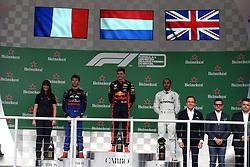 November 17, 2019, Sao Paulo, Brazil: xa9; Photo4 / LaPresse.17/11/2019 Sao Paulo, Brazil.Sport .Grand Prix Formula One Brazil 2019.In the pic: podium .1st position Max Verstappen (NED) Red Bull Racing RB15 .2nd position Pierre Gasly (FRA) Scuderia Toro Rosso STR14 .3rd position Lewis Hamilton (GBR) Mercedes AMG F1 W10 (Credit Image: © Photo4/Lapresse via ZUMA Press)
