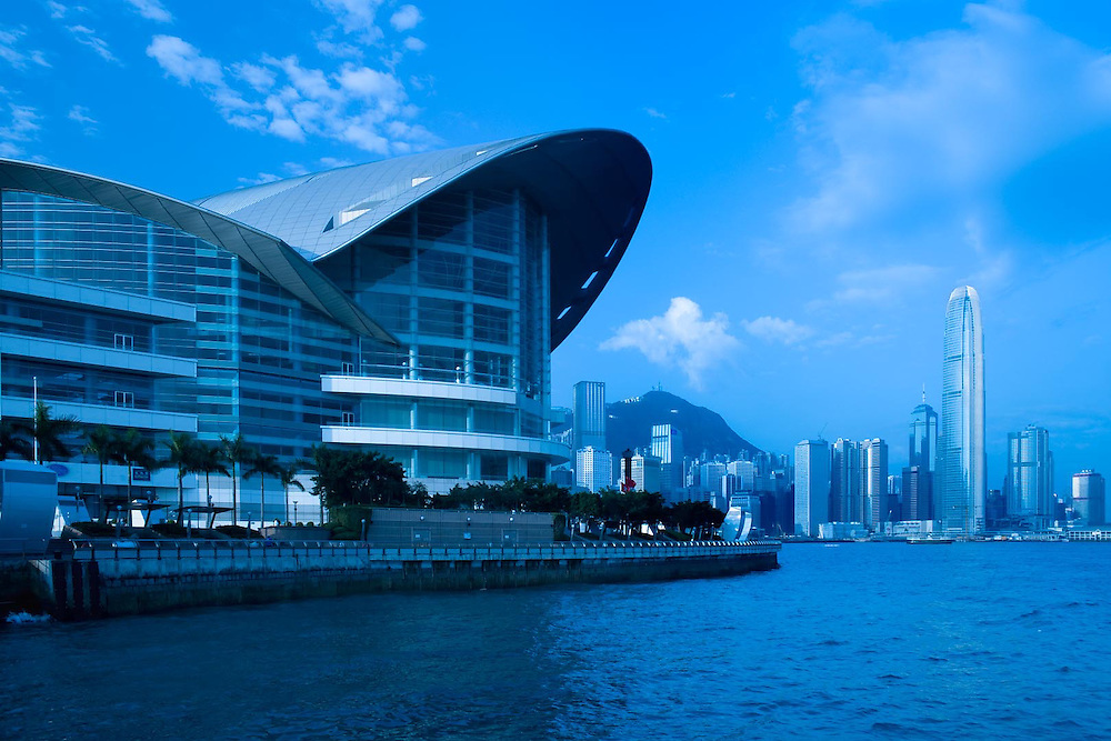 Hong Kong Convention and Exhibition Centre building in Wan Chai and skyline of the buildings in Chung Wan (central district), Victoria Harbour, Hong Kong Island, Hong Kong, China, Asia / No Property Release