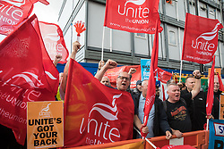 Steve Turner (c), candidate to become General Secretary of Unite, joins Unite members protesting outside the Euston construction site for the HS2 high-speed rail link regarding trade union access to construction workers building tunnel sections for the project on 6th August 2021 in London, United Kingdom. Unite claims that HS2's joint venture contractor SCS, formed by Skanska, Costain and Strabag, has been hindering 'meaningful' trade union access to HS2 construction workers in contravention of the HS2 agreement.