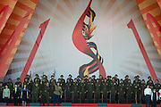 Moscow, Russia, 08/05/2010..A military choir performs in World War Two era uniforms  in a central park on the eve of the May 9 Victory Day celebrations.