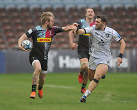 Rugby Union - 2020 / 2021 Gallagher Premiership - Round 14 - Harlequins vs Gloucester - The Stoop<br /> <br /> Tyrone Green of Quins and Jacob Morris of Gloucester<br /> <br /> <br /> Credit : COLORSPORT/ANDREW COWIE