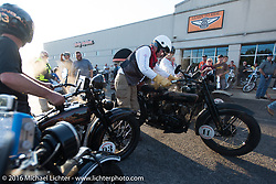 Dean Bordigioni pulls out after the hosted dinner at Appleton Harley-Davidson in Clarksville, Tennessee during Stage 4 of the Motorcycle Cannonball Cross-Country Endurance Run, which on this day ran from Chatanooga to Clarksville, TN., USA. Monday, September 8, 2014.  Photography ©2014 Michael Lichter.