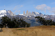 The Torres del Paine massif from the west Torre Sur is on the left then Torre Central then Torre Nord. The slopes of Monte Almirante Nieto are on the far left and those of Cerro Nido de Condor on the far right. .  Torres del Paine National Park, Republic of Chile 19Feb13
