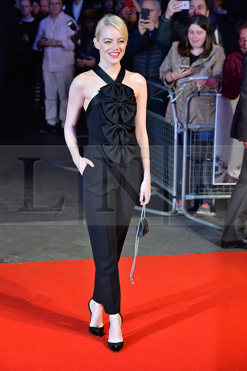 © Licensed to London News Pictures. 12/10/2017. London, UK. EMMA STONE attends the UK film premiere of Killing Of A Sacred Deer showing as part of the 51st BFI London Film Festival. Photo credit: Ray Tang/LNP