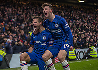 Football - 2019 / 2020 Premier League - Chelsea vs. Arsenal<br /> <br /> Cesar Azpilicueta (Chelsea FC) and Mason Mount (Chelsea FC) celebrate after scoring at Stamford Bridge <br /> <br /> COLORSPORT/DANIEL BEARHAM