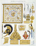 French military accoutrements of the royal guard.  From 'Histoire de la maison militaire du Roi de 1814 a 1830' by Eugene Titeux, Paris, 1890.