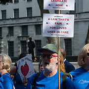 2021-09-16 Downing Street, London, UK. Protestors demand human rights to see thier love one in care home or maybe the last time. There has been no #freedomday for those in care homes?  Why are our loved ones still subjected to restrictions?   We must ensure this never happens again.