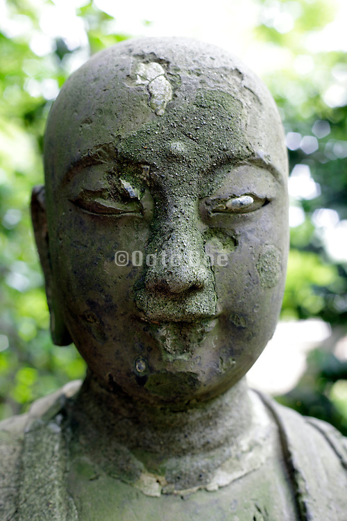 head of an old Buddhist statue Japan