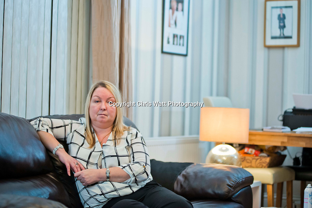 Picture Copyright Chris Watt<br /> Tel -  07887 554 193<br /> info@chriswatt.com<br /> www.chriswatt.com<br /> <br /> Catherine McGhee's husband and childhood sweetheart John left her for her best friend of 30 years, Lynn. <br /> <br /> Lynn is now pregnant with John's baby and they have set up home together across the road from the family home.
