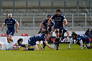 Sale Sharks full back Luke James looks to off-load to Sale Sharks lock Lood De Jager during a Gallagher Premiership Round 11 Rugby Union match, Friday, Feb 26, 2021, in Eccles, United Kingdom. (Steve Flynn/Image of Sport)