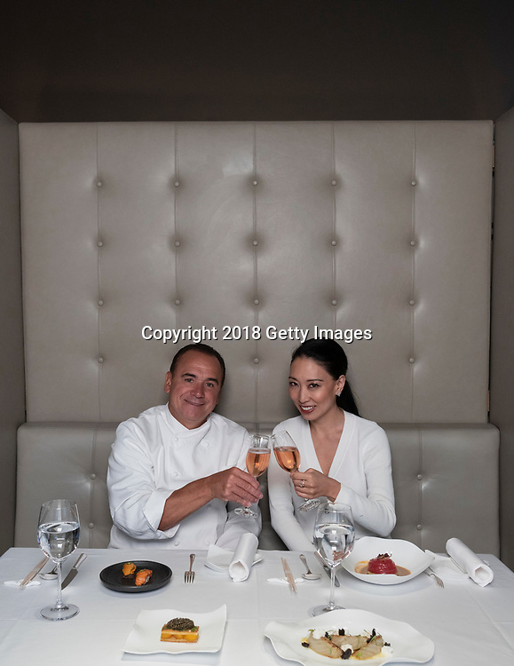 NEW YORK- JANUARY 09:  Chef Jean George and Judy Joo pose for a portrait at Nougatine at Jean George on January 9th, 2019 in New York City. (Photo by Kris Connor/Getty Images for OK! Magazine)