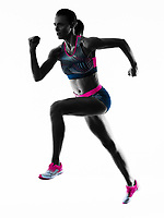 one young caucasian woman runner running jogger jogging athletics competition  isolated on white background