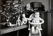 baby with it Christmas presents France 1955