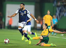 Scotland's Matt Phillips (left) and Lithuania's Valdemar Borovskij in action during the 2018 FIFA World Cup Qualifying, Group F match at the LFF Stadium, Vilnius.