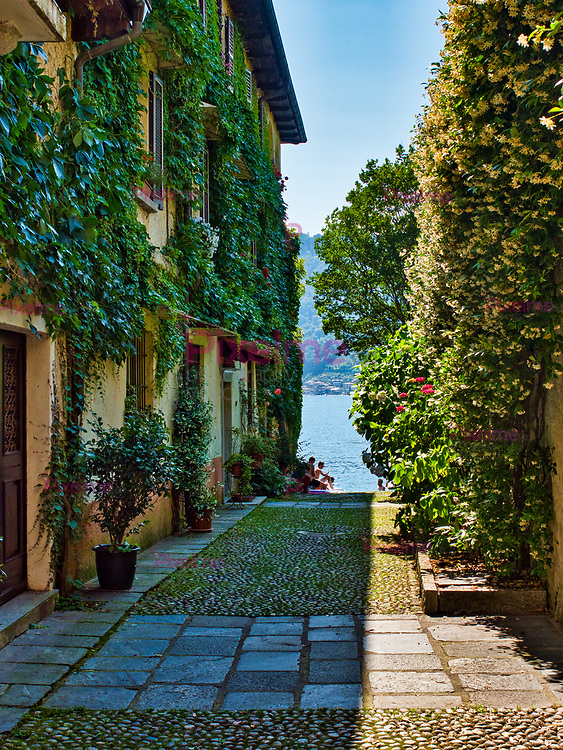 Alley with houses of walls covered by vines with lake orta in the background and people bathing