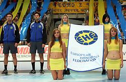 Referees Peter Herceg and Peter Sudi (HUN) at EHF Flag at handball match RK Cimos Koper vs Chehovskie Medvedi (RUS) in E group of EHF Champions league Men 2008/2009, on October 4, 2008 in Arena Bonifika, Koper, Slovenia. Chehovskie Medvedi won 35:28. (Photo by Vid Ponikvar / Sportal Images)
