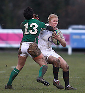 29 Feb 2010 Esher, Surrey: Michaela Staniford of England is tackled by Joanne O'Sullivan of Ireland during the Women's Six Nations game between England and Ireland at Esher Rugby Club (photo by Andrew Tobin/SLIK images)