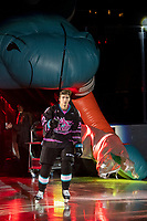 KELOWNA, BC - SEPTEMBER 21:  Dillon Hamaliuk #22 of the Kelowna Rockets enters the ice for home opener against the Spokane Chiefs at Prospera Place on September 21, 2019 in Kelowna, Canada. (Photo by Marissa Baecker/Shoot the Breeze)